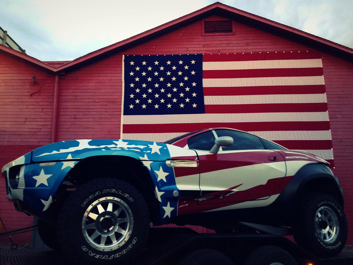 Rally Fighter Stars and Stripes life style shot, Vehicle Wraps Maine